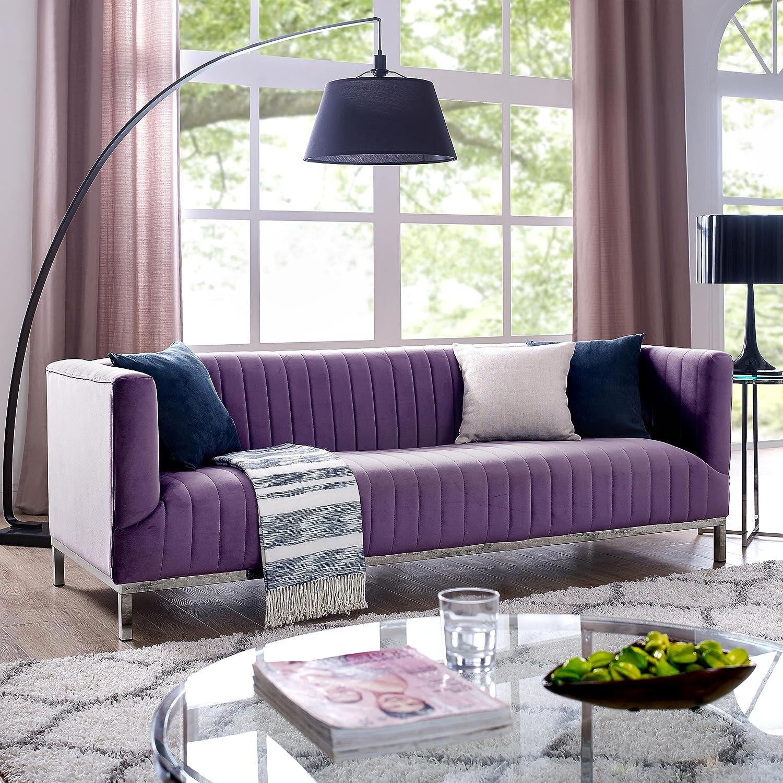 Amazon com sean purple velvet tuxedo sofa chrome y legs stainless steel line stitch modern contemporary inspired home kitchen dining
