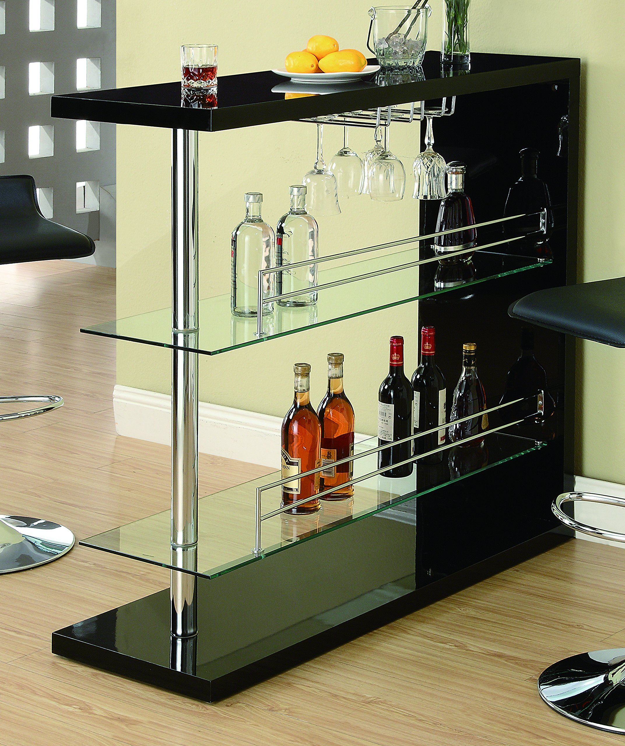 Coaster Home Furnishings  Modern Contemporary Three Tier Tempered Glass Shelf Bar Table with Stemware Storage - Glossy Black