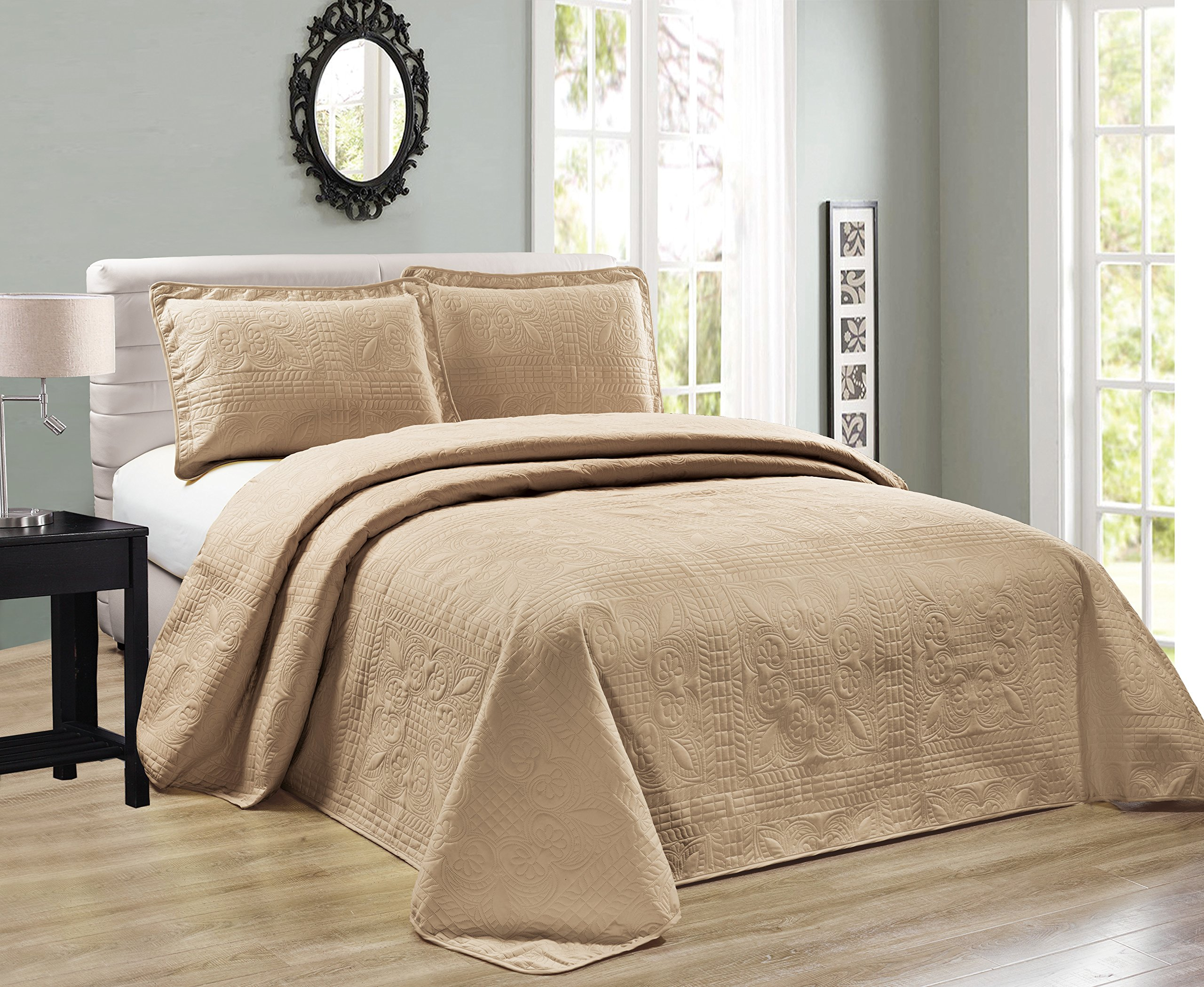 Elegant Home Beautiful Over Sized Taupe Solid Color Embossed Floral Striped 2 Piece Twin / Twin XL Size Coverlet Bedspread (Twin / Twin XL, Taupe)