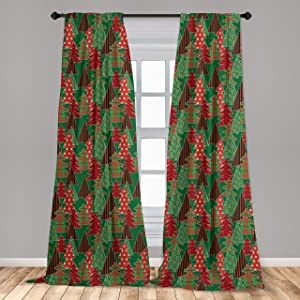 """Ambesonne Christmas 2 Panel Curtain Set, Abstract Pines with Swirls Dots Lines Design Patchwork Style Print, Lightweight Window Treatment Living Room Bedroom Decor, 56"""" x 84"""", Coral Green"""