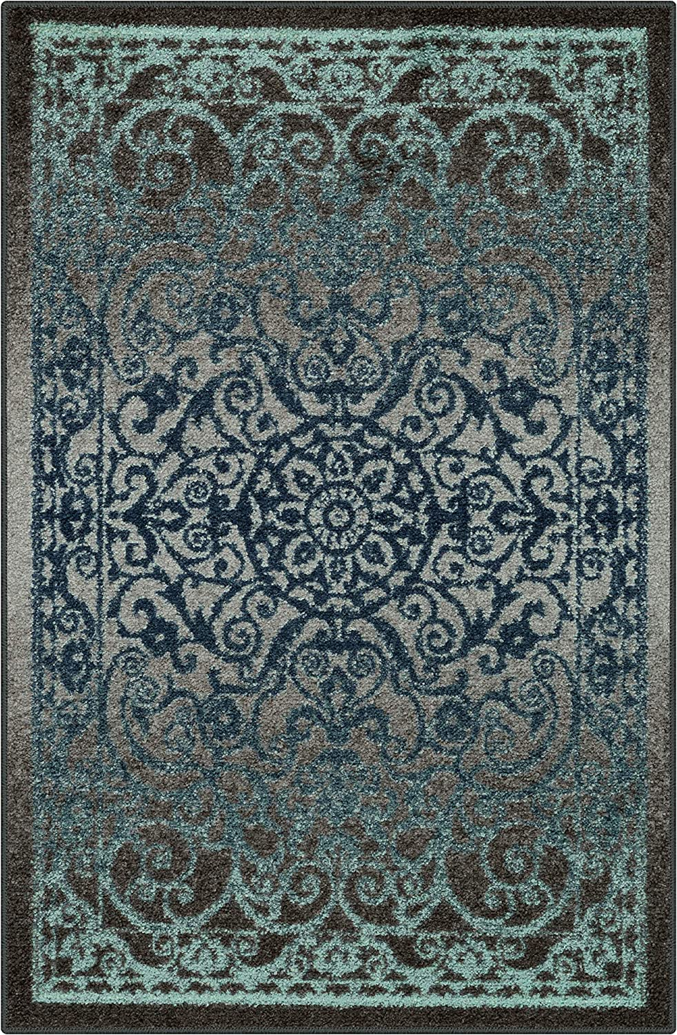 Maples Rugs Pelham Vintage Kitchen Rugs Non Skid Accent Area Carpet [Made in USA], 2'6 x 3'10, Charcoal/Radiant Blue