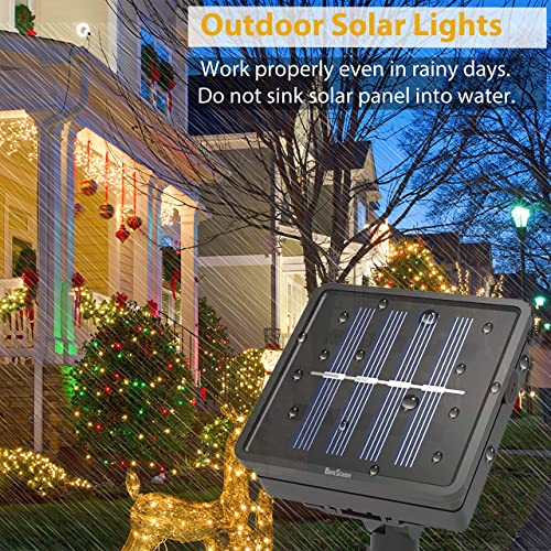 Outdoor Solar String Lights, Rope Lights 2-Pack 33Ft Powered by Solar, 8 Modes 100 LEDs IP65 Waterproof LED Solar Fairy Lights for Patio Garden Party Home Decor Warm White