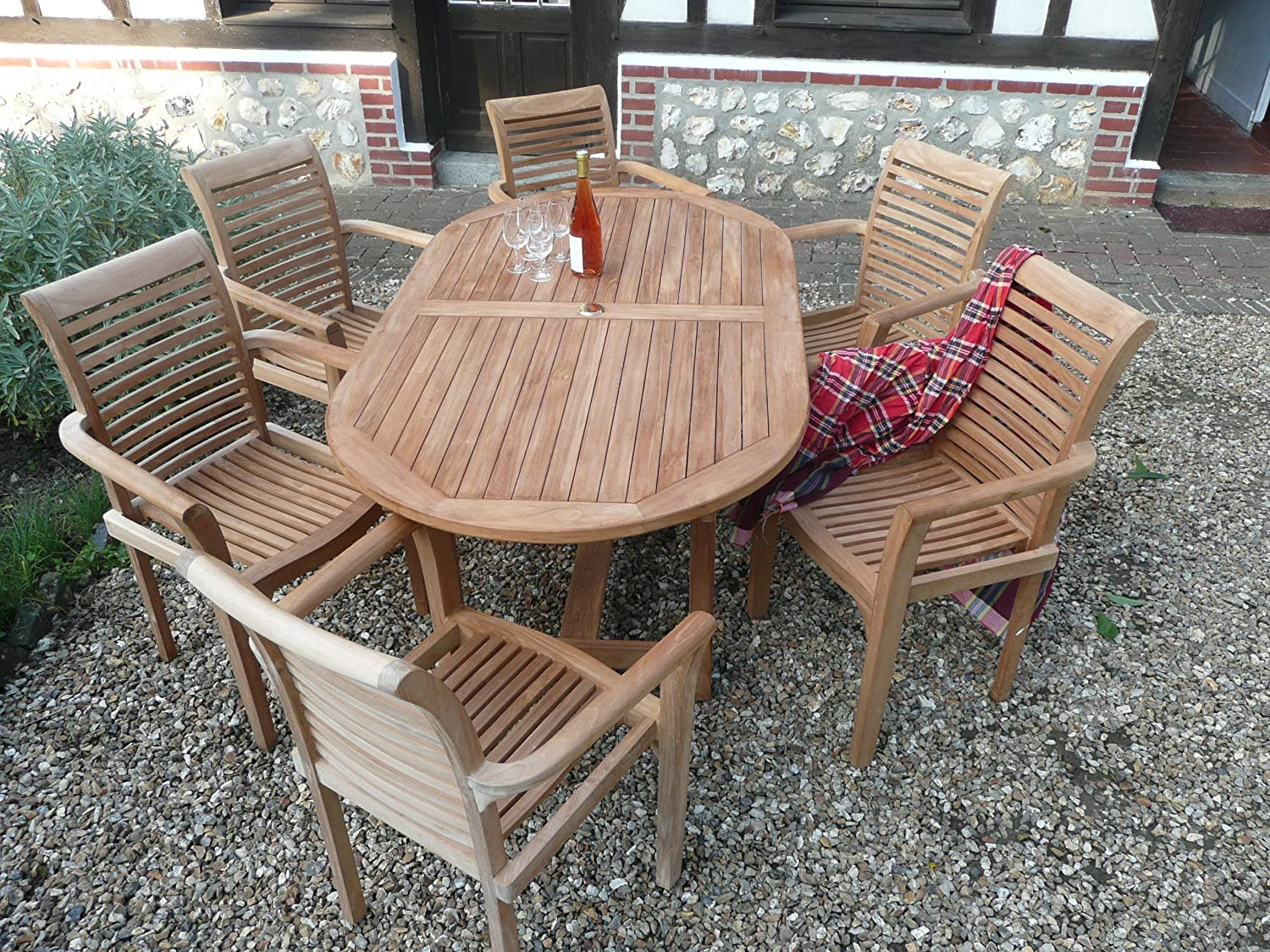 humber imports la baule teak garden furniture 13 piece patio set 60 off top grade teak 6 foot table 6 stacking chairs cushions amazoncouk garden