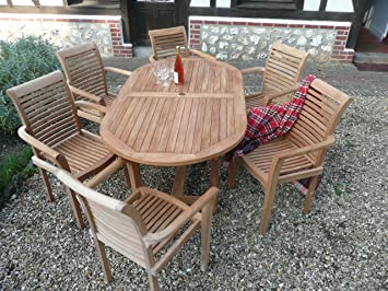 teak garden furniture 13 piece syracruse set new 2017 model