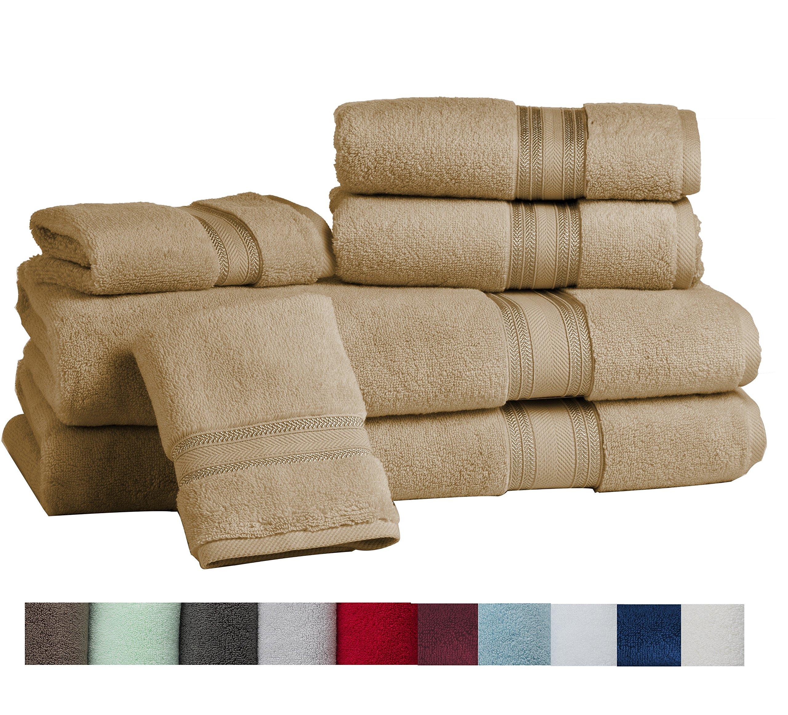 Casa Lino Quick Dry Super Zero Twist 6 Piece Bath Towel Set 7 Star Hotel Luxury Collection, 2 Bath Towel 28x54'', 2 Hand Towel- 16x28'', Face Towel- 13x13'' (taupe) by Lezeth Collection