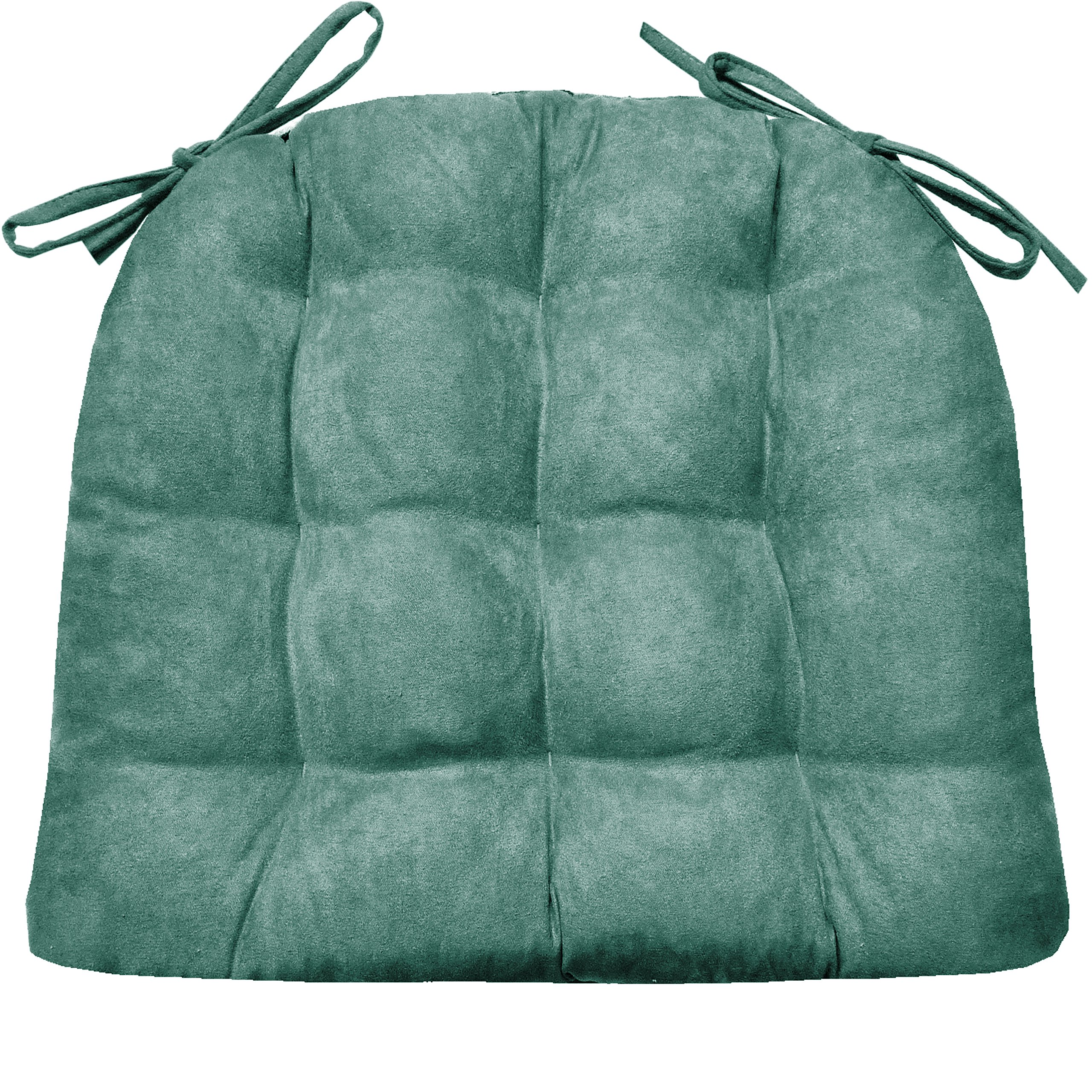 Barnett Products Dining Chair Pad with Ties - Microsuede Turquoise - Size Standard - Reversible, Latex Foam Fill, Machine Washable, Micro Fiber Ultra Suede (Teal)
