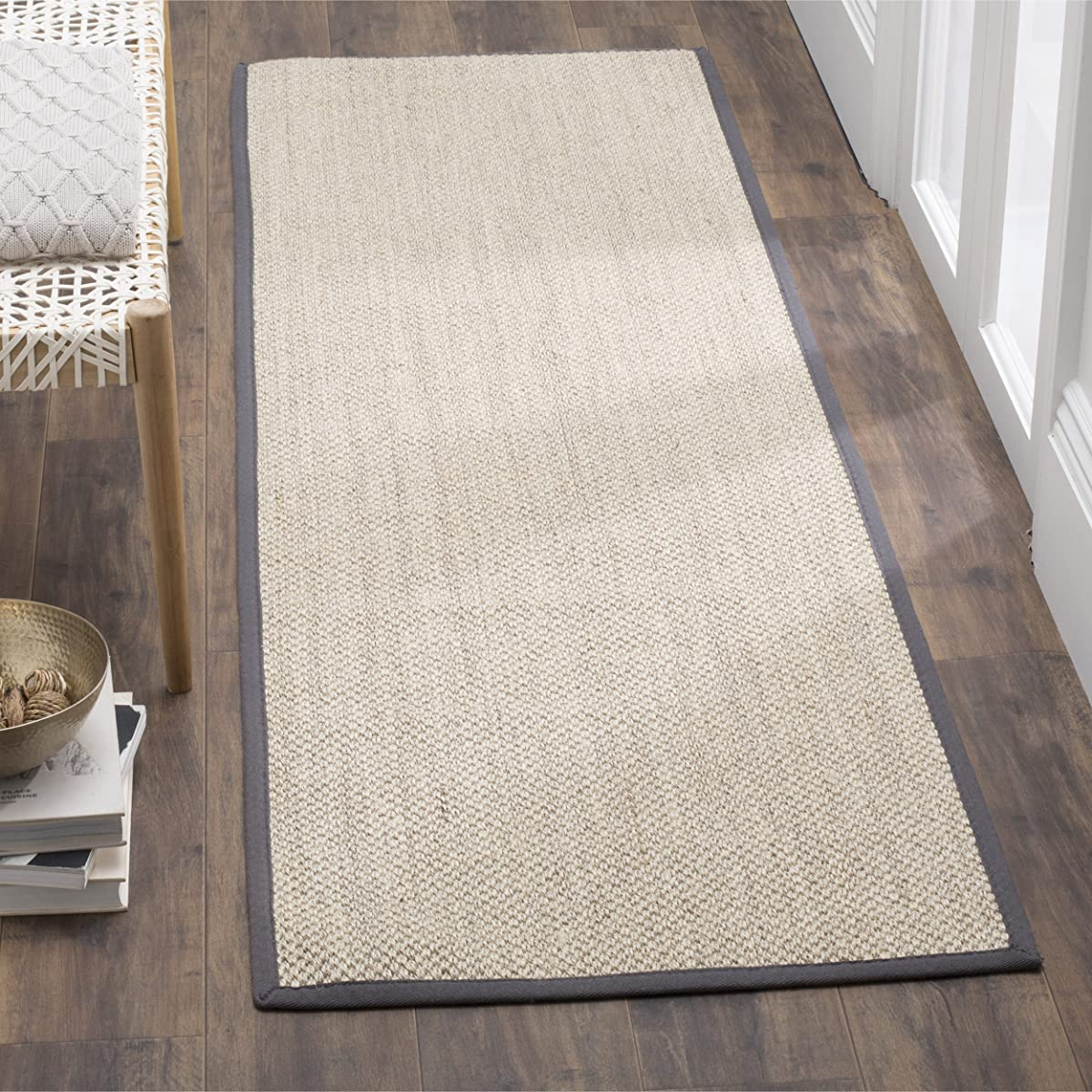 """Safavieh Natural Fiber Collection NF143D Marble and Dark Grey Sisal Runner (26"""" x 8)"""