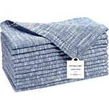 Cotton Clinic 12 Pack Farmhouse Style Slub Textured 18x18 Cloth Dinner Napkins, 100% Cotton for Everyday Use and Events - Soft and Durable Cocktail Napkins, Wedding Dinner Napkins, Navy Blue