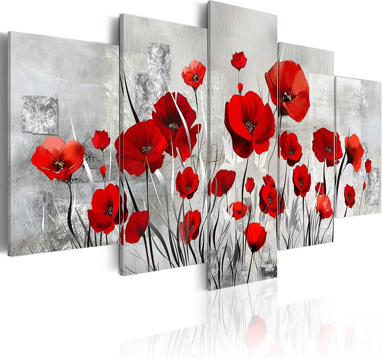 murando - Cuadro en Lienzo Amapolas 200x100 cm Flores Impresión de 5 Piezas Material Tejido no Tejido Impresión Artística Imagen Gráfica Decoracion de Pared Rojo Flores Naturaleza b-A-0001-b-n