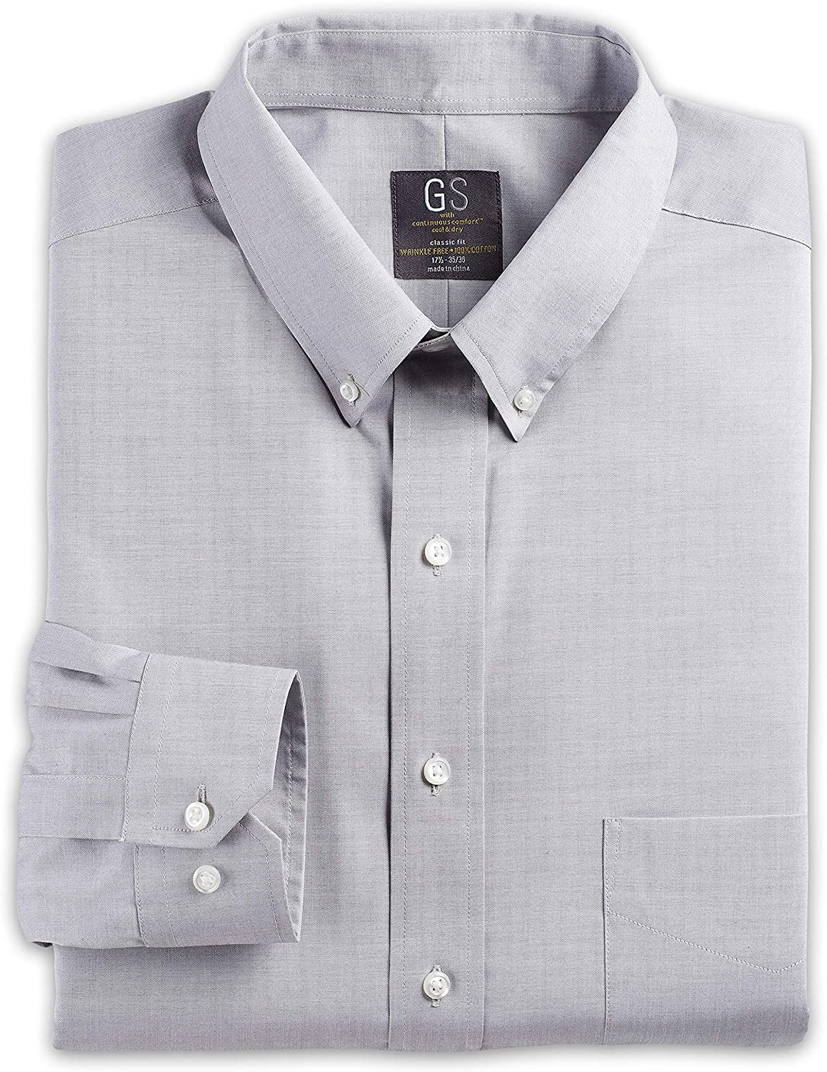 Gold Series Big and Tall Wrinkle-Free Cool & Dry Solid Pinpoint Dress Shirt