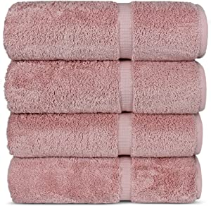 Chakir Turkish Linens Hotel & Spa Quality, Highly Absorbent 100% Turkish Cotton Bath Towels (4 Pack, Pink)
