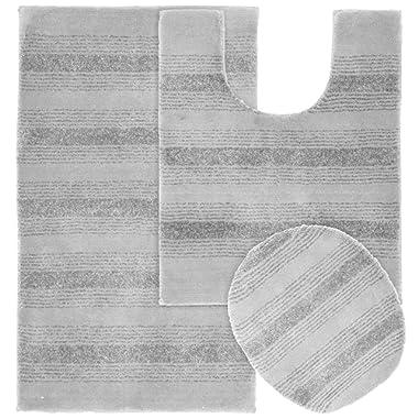 Garland Rug 3-Piece Essence Nylon Washable Bathroom Rug Set, Platinum Gray