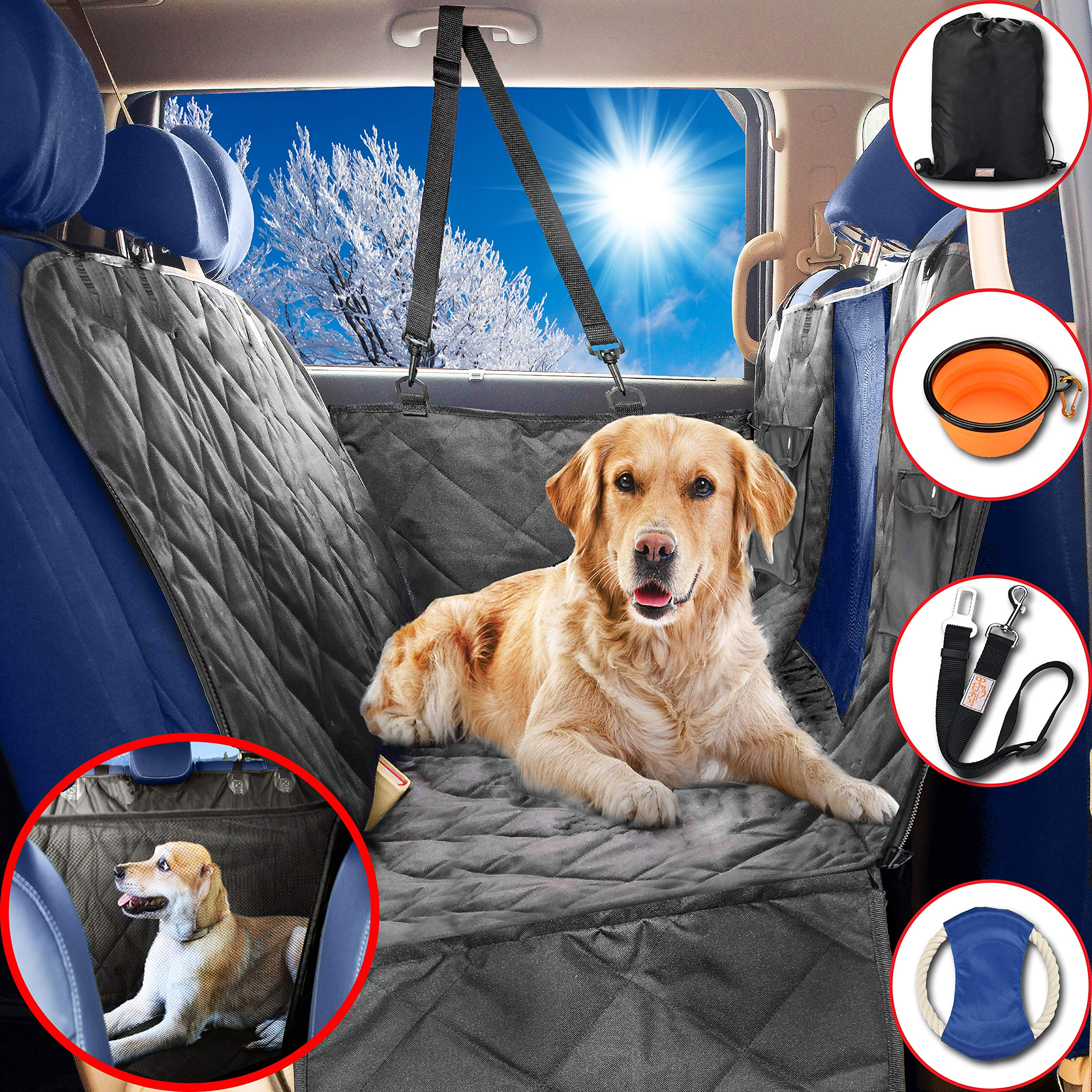 Dog Car Seat Covers Hammock for Pets-Back Seat and Doors Protector-Unique Mesh Window Backseat Barrier-Side Flaps,Leak-proof,Anti-Scratch,Nonslip,Machine Washable-Black-Fits Most Vehicles-54x60