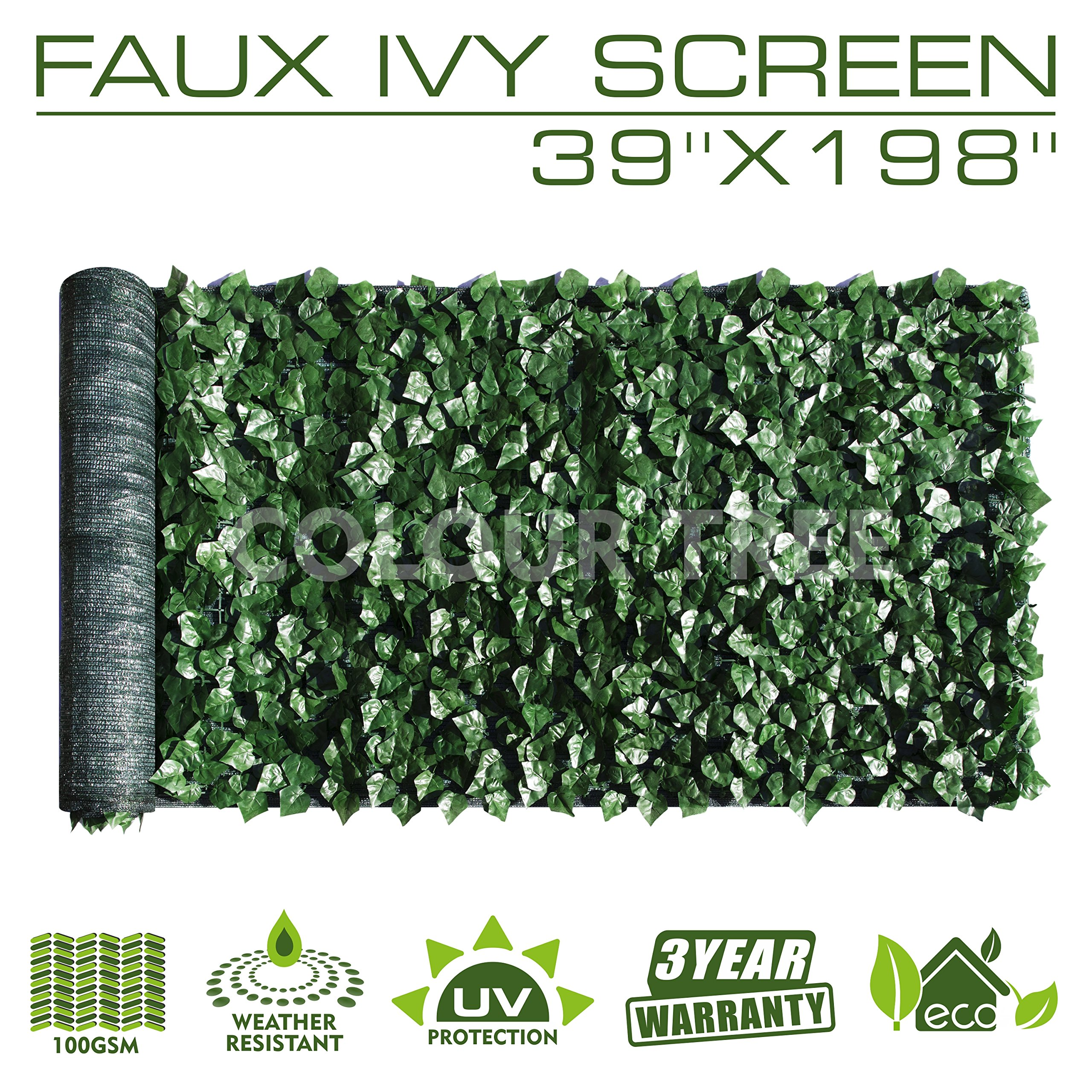 ColourTree Artificial Hedges Faux Ivy Leaves Fence Privacy Screen Panels  Decorative Trellis - Mesh Backing - 3 Years Full Warranty (39'' x 198'')