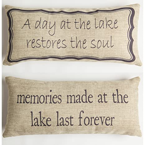 Amazon.com: Lago recuerdos Mensaje Throw Pillow: Home & Kitchen