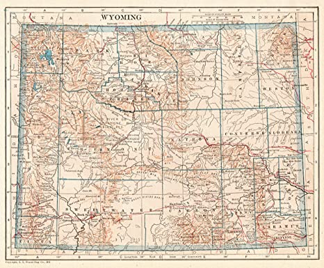 Amazon.com: 1921 Antique Wyoming State Map Original Vintage Map of ...