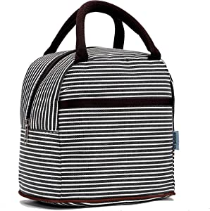 Small Insulated Lunch Bags For Women Girls Cooler Lunch Boxes For Teen Cute Resable Lunch Tote Bag For Picnic School Office Outdoor - Black Line