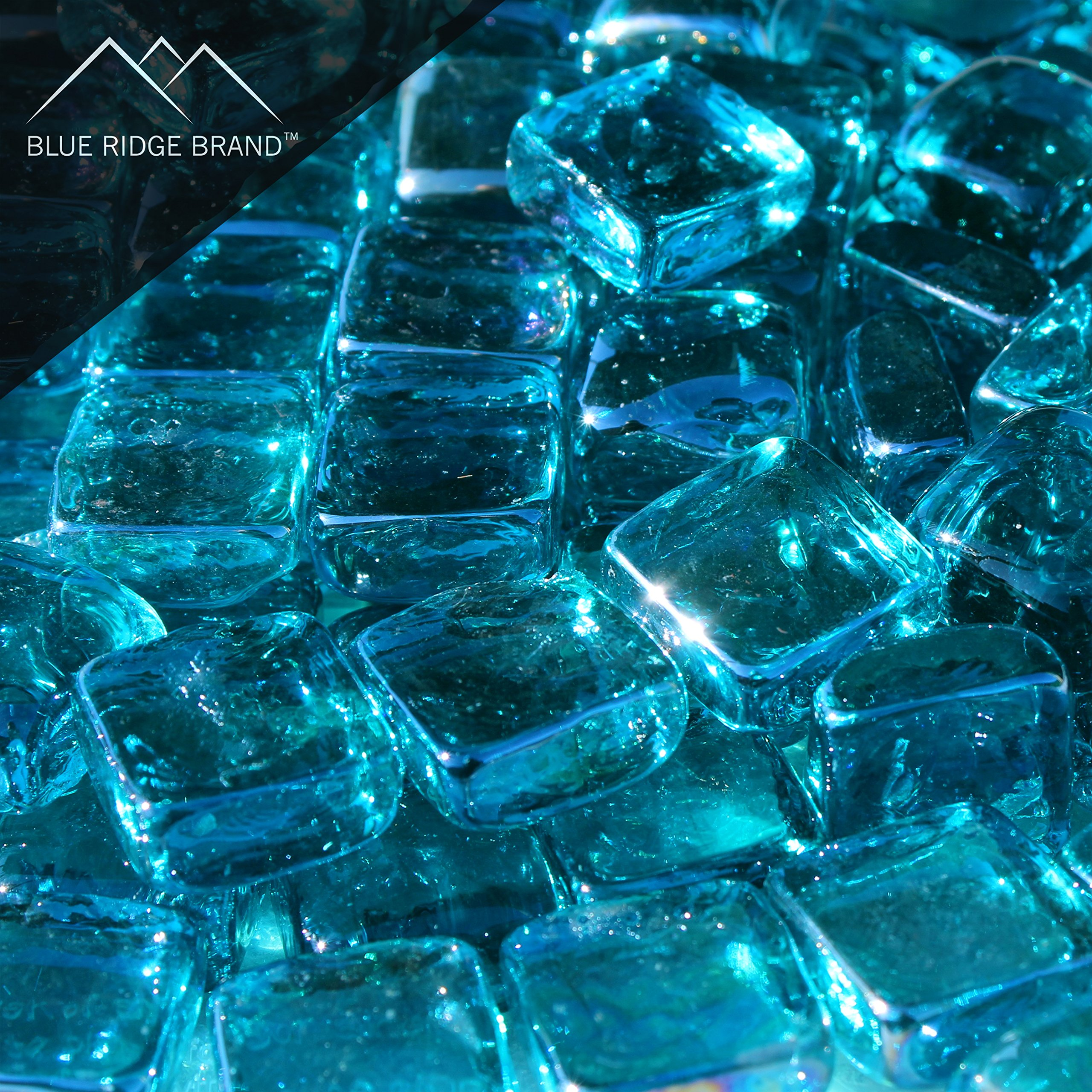 Blue Ridge Brand trade; Aqua Reflective Fire Glass Cubes - 20-Pound Professional Grade Fire Pit Glass - 3/4'' Reflective Glass for Fire Pit and Landscaping by Blue Ridge Brand (Image #1)