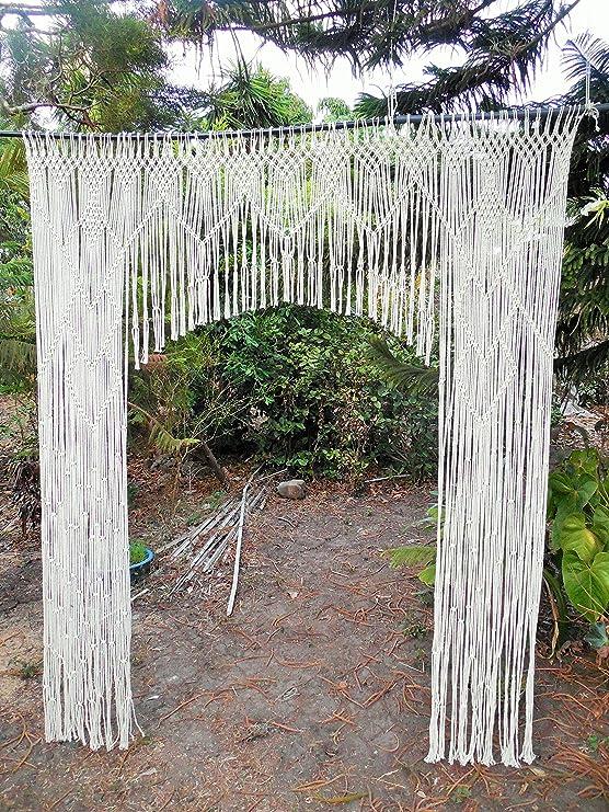 Increíble, hermoso y original boda telón de fondo cortina de macramé de hecho a mano/hecho a mano romántico boda/dormitorio bohemio decoración: Amazon.es: Hogar