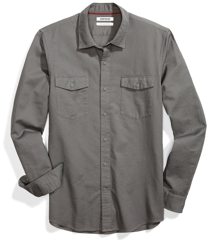 Goodthreads Mens Standard Slim-fit Long-Sleeve Ripstop Dobby Shirt MGT25080SP18