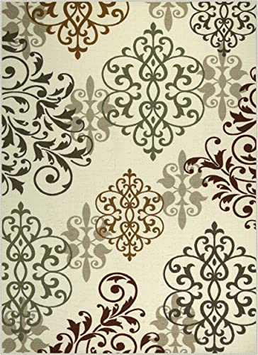 Maples Rugs Area Rug – Eleanor 7 x 10 Non Slip Large Rugs Made in USA for Living Room, Bedroom, and Dining Room, Multi