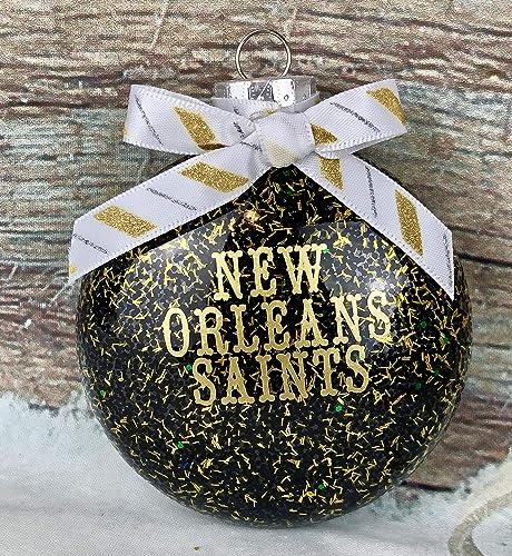 New Orleans Saints Christmas Ornaments.Amazon Com New Orleans Saints Black And Gold Shimmering