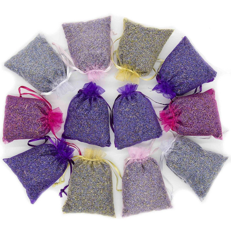 D'vine Dev 15 Mix Color Lavender Sachets Filled with French Lavender Flower Buds - Natural Deodorizer - Premium Ultra Blue Lavender Flower Buds - by Lavande Sur Terre