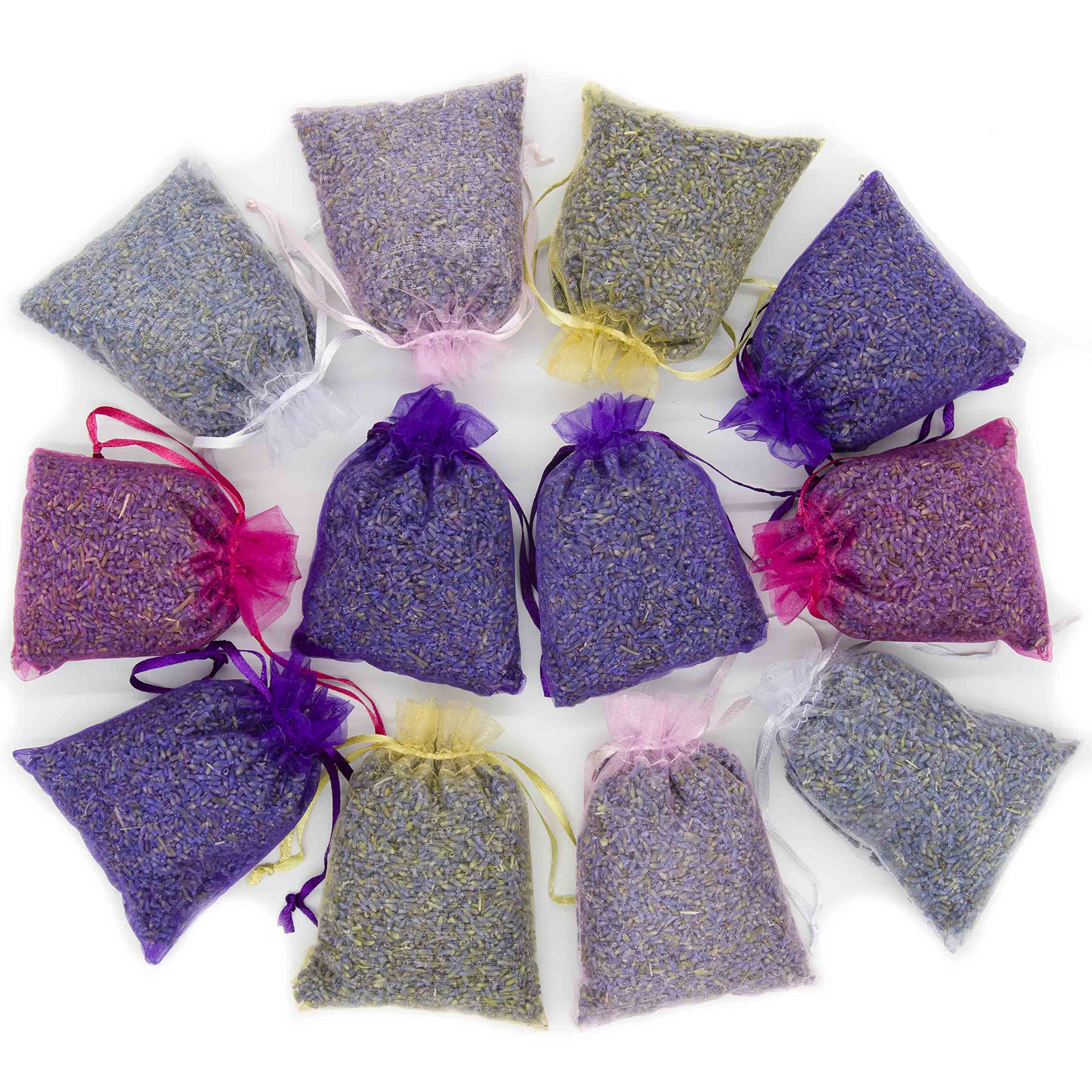 D'vine Dev French Lavender 12 Sachets Bag - Dried Lavender Flower Buds - 5 Colors Sachets with Easy Resealable Bag by D'vine Dev