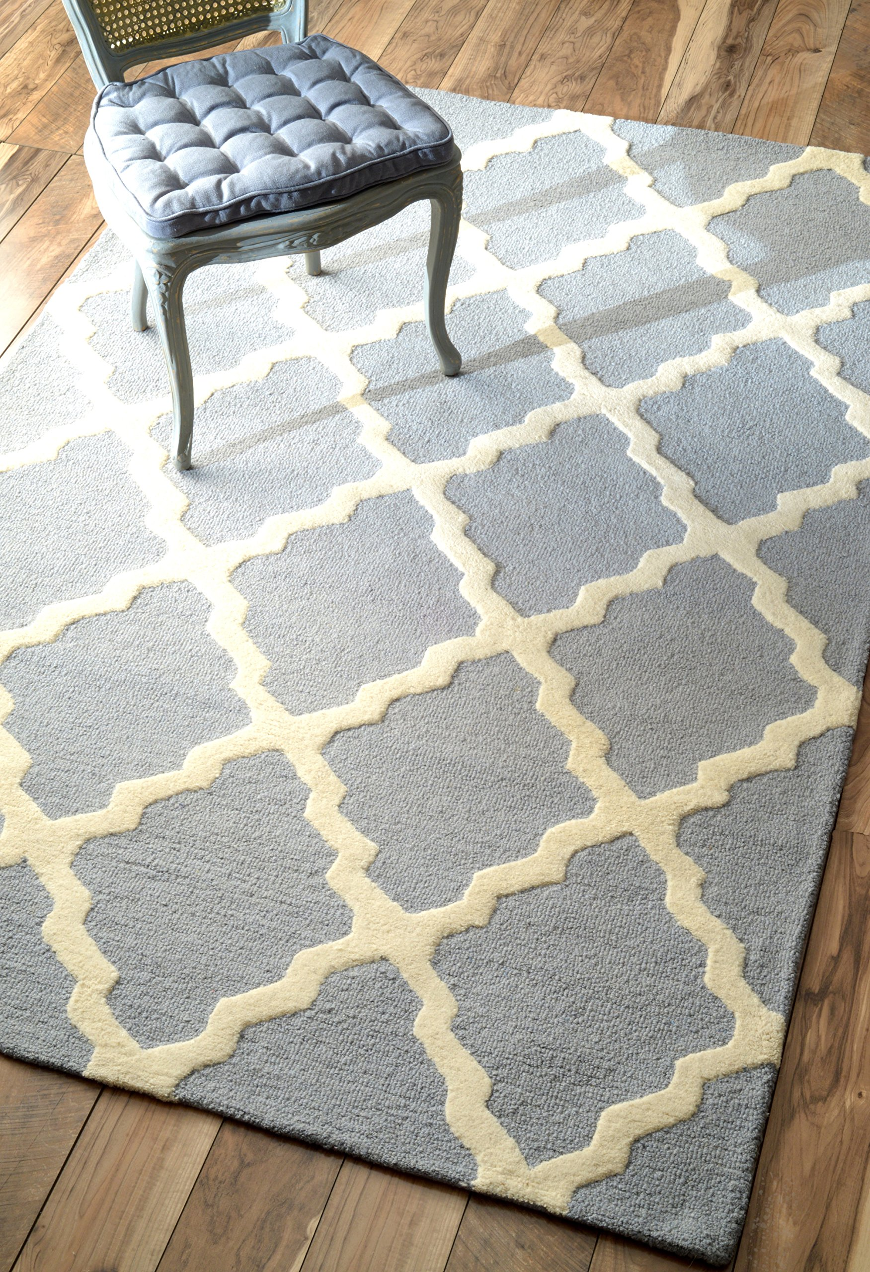nuLOOM Varanas Collection Marrakech Trellis Contemporary Transitional Hand Made Area Rug, 5 Feet by 8 Feet, Spa Blue