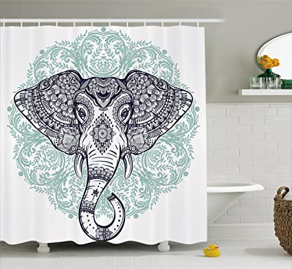 Ambesonne Elephant Mandala Shower Curtain By, Ethnic Indian Floral Paisley  Print Sacred Animal Head Hippie