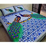 Bedzone 100% Cotton Comfort Rajasthani Jaipuri Traditional Double Bedsheets with Pillow Covers .Bule