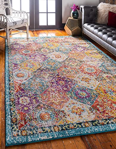 Unique Loom Penrose Collection Distressed Traditional Vintage Multi Area Rug 10 0 x 14 0