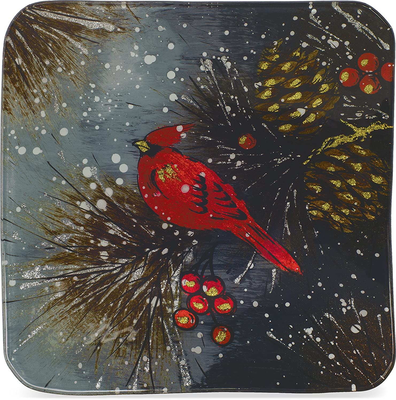 AngelStar Christmas Cardinal /& Pinecone Plate-8 19462