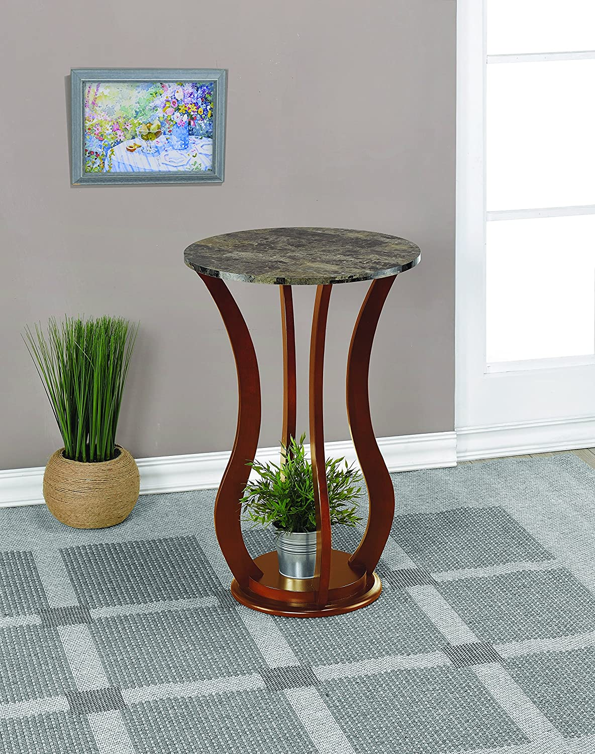 Coaster Home Furnishings Round Marble Top Plant Stand Brown 900926