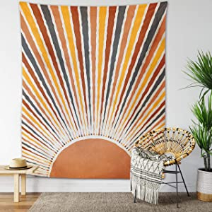 Vintage Sun and Moon Tapestry Retro 70s Rainbow Sunrise Sunset Minimal Geometric Grunge Abstract Art Print Boho Wall Hanging Hippie Meditation Celestial Bohemian Decor for Dorm Living Room Nursery Bedroom (Rising Sun, 51