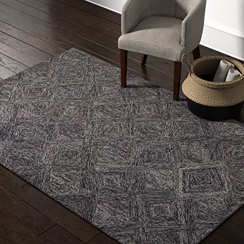 Rivet Motion Modern Patterned Wool Area Rug, 5 x 7 6 , Heathered Grey