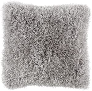 Bedford Home Oversized Floor or Throw Pillow Square Luxury Plush– Shag Faux Fur Glam Decor Cushion for Bedroom Living Room or Dorm (Grey)