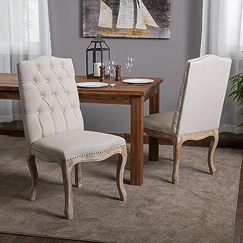Jolie Beige Linen Dining Chair (Set Of 2)