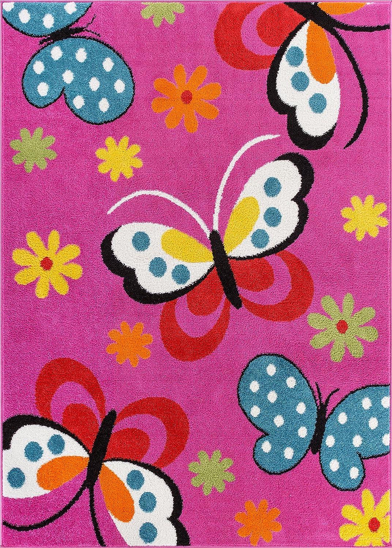"Well Woven StarBright Daisy Butterflies Modern Abstract Pink 3'3"" x 5' Kids Area Rug"