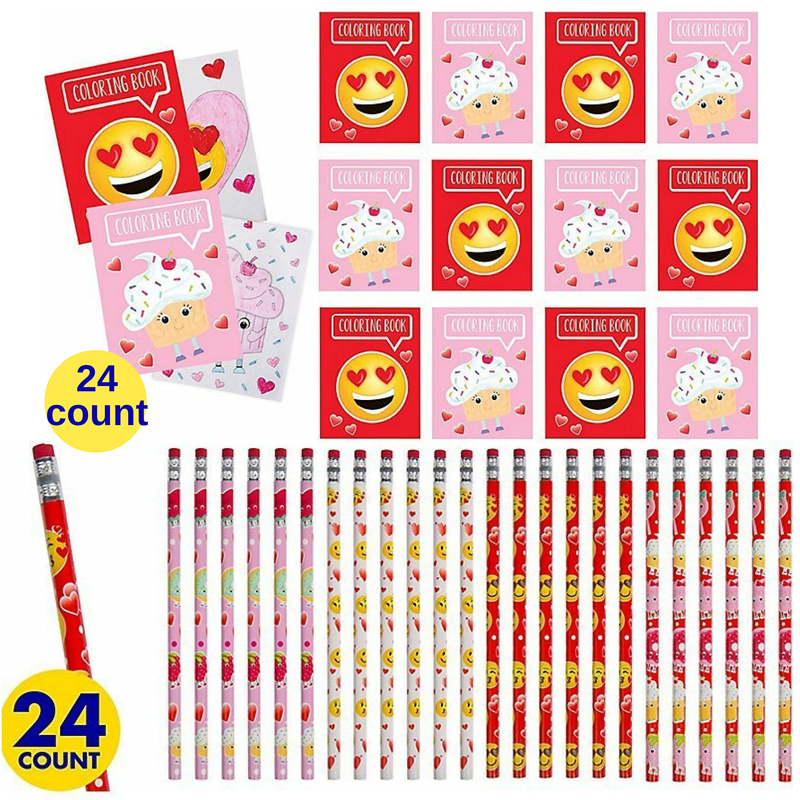 Valentines Emoticon Coloring Pages and Pencils, set of 48 pieces Party Favors by Custom Variety (Image #1)
