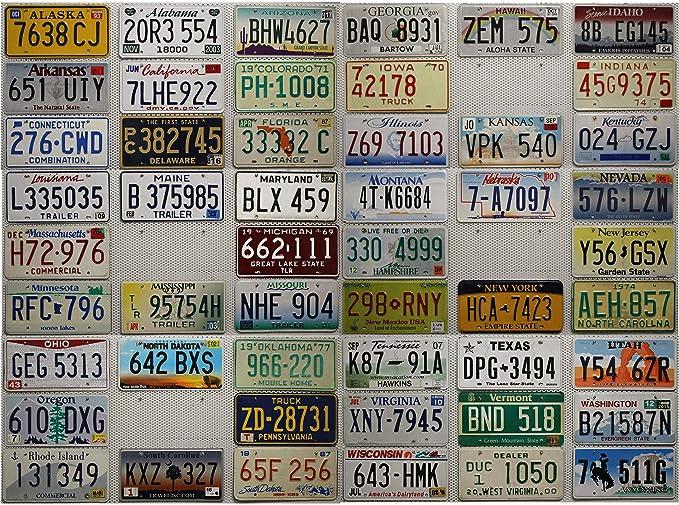 Usa Auswahl Von Fahrzeugschildern Fünfzig 50 Nummernschilder Set Der Usa Staaten Komplett Autokennzeichen Blechschilder Sammlung Us License Plate Lot Auto