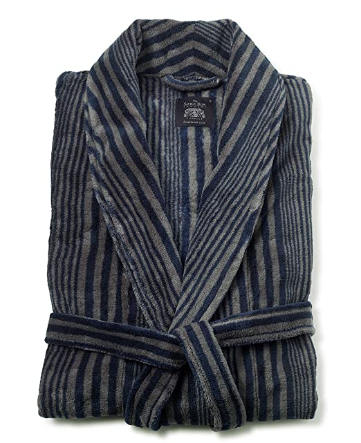 Savile Row Mens Navy Blue Stripe Fleece Dressing Gown S: Amazon.es: Ropa y accesorios