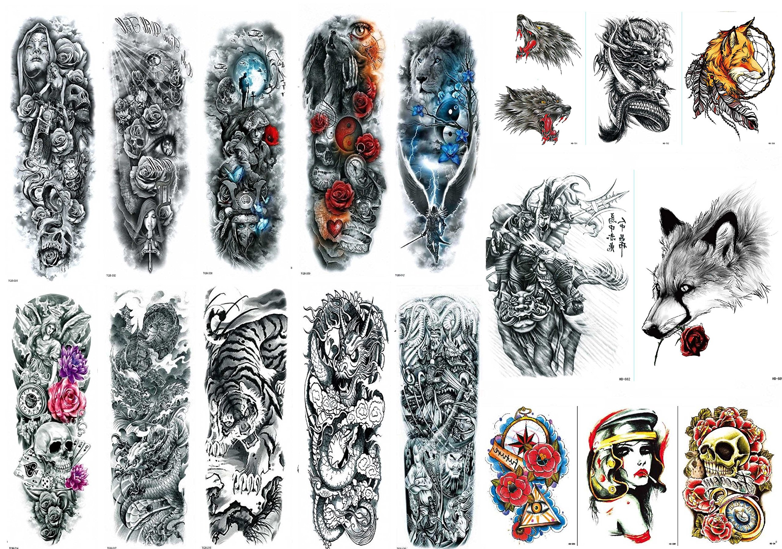 Nutrition Bizz Extra Large Temporary Tattoos Full Half Arm Tattoo Sleeves 18 Sheets for Men Women Teen Fake Tattoo Biker Tattoo Waterproof Stickers for Arms Shoulders Chest & Back by NutritionBizz (Image #1)