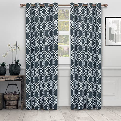 Superior Ribbon Collection Quality Soft, Insulated, Thermal, Woven Blackout Grommet Printed Curtain Panel Pair Set Of 2 52 x 84 – Grey