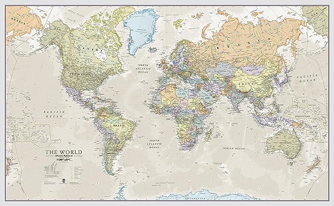 Maps International - Mapa del mundo gigante, póster clásico con el mapa del mundo, plastificado - 197 x 116,5 cm – Colores clásicos: Amazon.es: Oficina y papelería