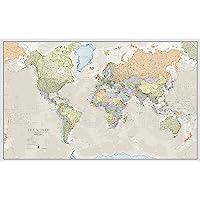 Klassieke wereldkaart met gelamineerde voorzijde – Extra Grote (197 x 116,5 cm)