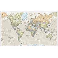 Maps International Giant World Map - Classic World Map Poster - Laminated – 77.5 x 46