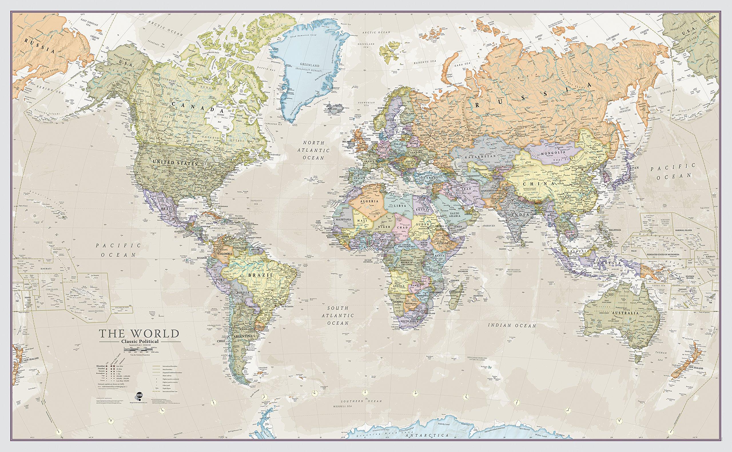 Mapa del mundo, plastificado, diseño Clásico - 197 x 116,5 cm product