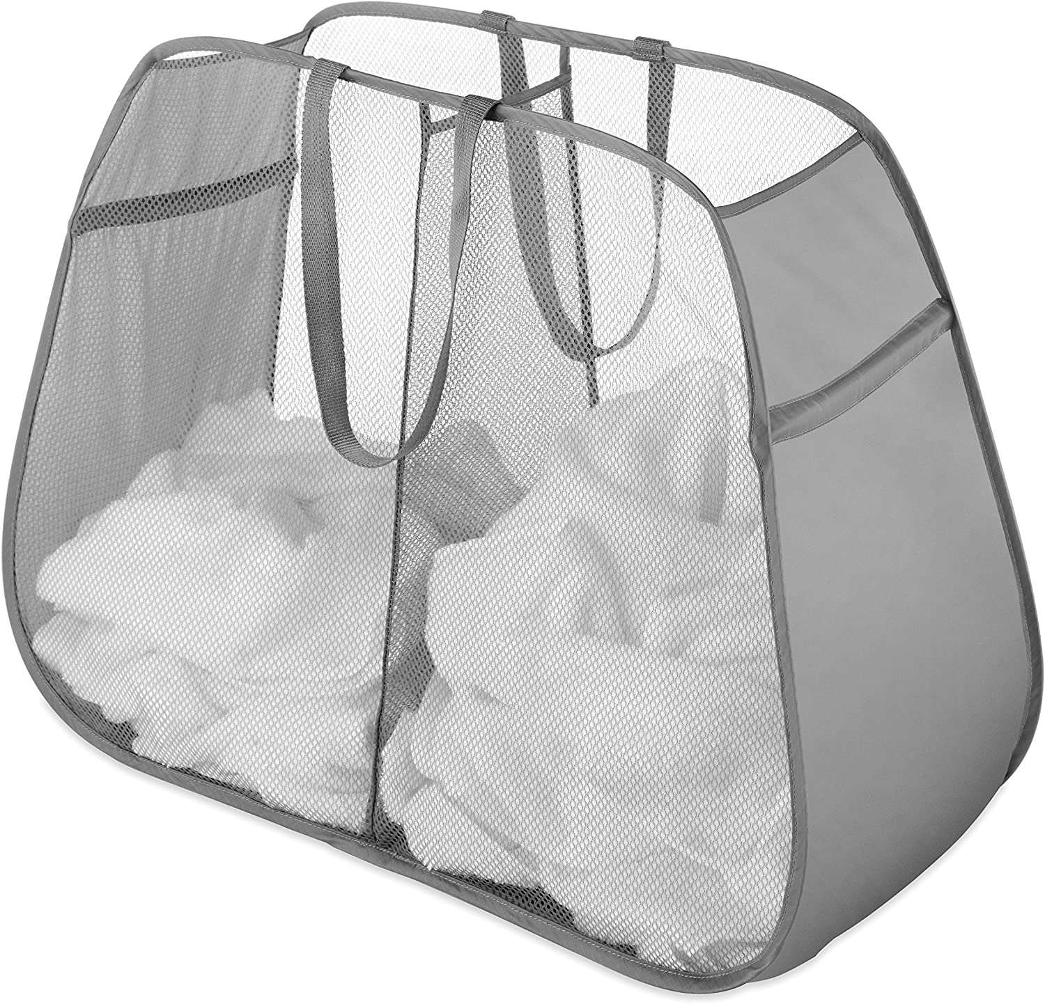Whitmor Pop and Fold Double Hamper, Paloma Gray