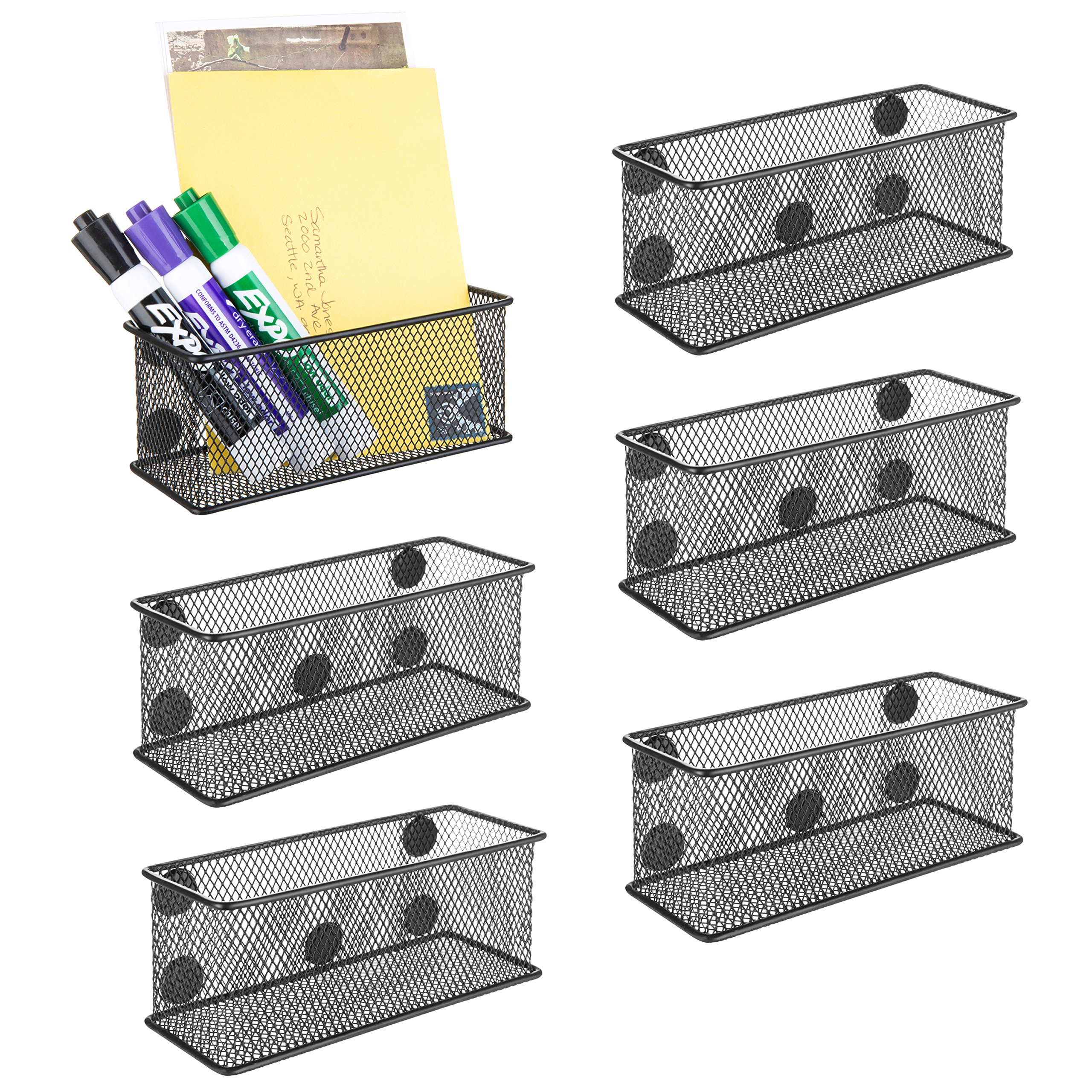 MyGift Wire Mesh Magnetic Storage Baskets, Office Supply Organizer, Set of 6, Black by MyGift (Image #1)